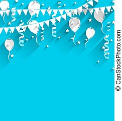 Happy birthday background with balloons, stars and pennants