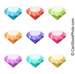 Collection Colorful Diamonds Isolated on White Background