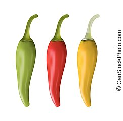 Set of Colorful Chili Peppers Isolated on White Background -...