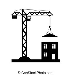 Tower crane - Vector icon isolated - Black tower crane on...