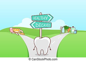 cute cartoon tooth think confused between health food and...