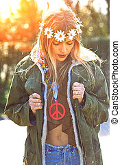 Girl hippie revolutionary 1970 style. Picture ruined...