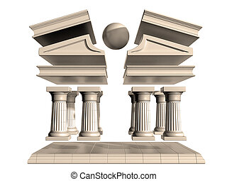 Deconstructed Greek Temple - Isolated illustration of a...