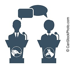 Debate of Republican vs Democrat - Illustration Debate of...