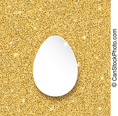 Abstract Happy Easter Paper Egg on Golden Sparkles...