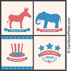 Retro Cards for Advertise of United States Political Parties