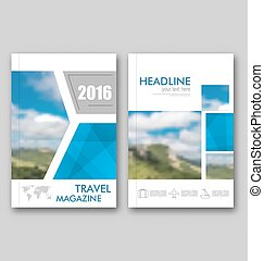 Brochure Template of Travel Magazine, Cover Design Annual...