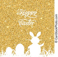 Abstract Easter Sparkle Background with Rabbit, Eggs, Grass...