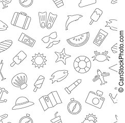 Seamless Pattern with Tourism and Holiday Objects and Icons...