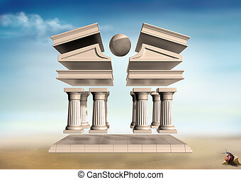 Surreal Greek Temple - Original illustration of a...