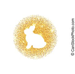 Abstract Happy Easter Golden Glitter Rabbit - Illustration...