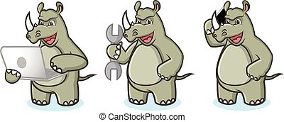 Rhino Mascot Vector with laptop