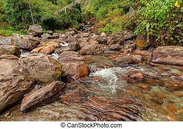 Water flowing through rocks, Kukhola falls, Sikkim -...