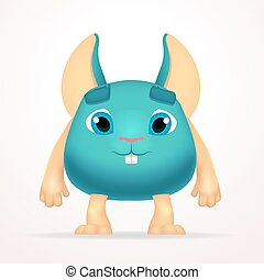 Big goofy mouse mutant character. Fun fat monster isolated on light background. Silly cartoon rabbit for kids design