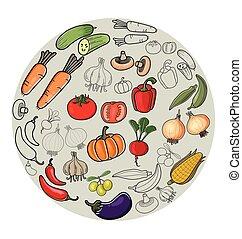 doodle vegetable set - Vector Illustration of vegetable set...
