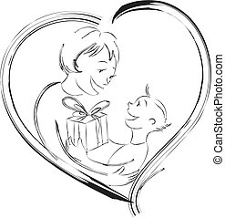 Happy Mother\'s Day - Vector illustration of a child giving...