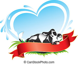 Cow label - Cow with red banner for your text