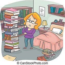 Girl Books Pile Bedroom - Illustration of a Girl Assessing...