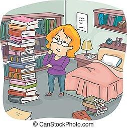 Girl Books Pile Bedroom