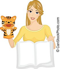 Volunteer Girl Book Story Telling Puppet - Illustration of a...