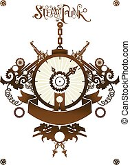 Steampunk Clock Ribbon - Steampunk Illustration of a Clock...