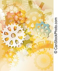 Steampunk Cogwheels - Colorful Watercolor Illustration of...