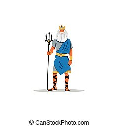 Poseidon Vector Illustration - Mythological Greek guardian...