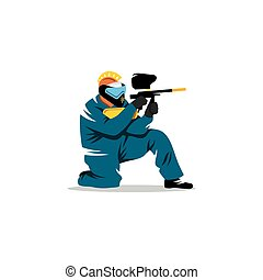 Paintball player. Vector Illustration. - A man with a gun in...