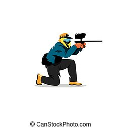 Paintball player Vector Illustration - A man with a gun in...