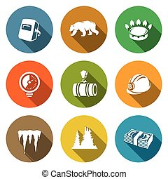 Gas transit Icons Set. Vector Illustration. - Isolated Flat...