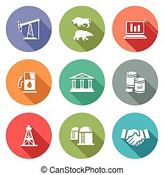Exchange of gas and oil industry Icons Set. Vector...