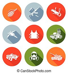 Weapons Icons Set. Vector Illustration. - Isolated Flat...