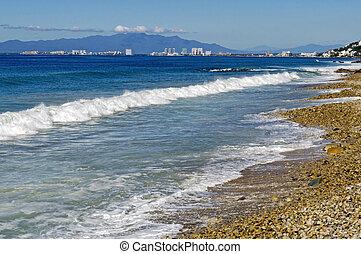 Ocean surf south of Puerto Vallarta - Pacific Ocean surf by...