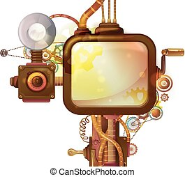 Steampunk Screen Frame - Steampunk Illustration of a Frame...