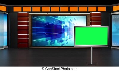News TV Studio Set 02 - Virtual Green Screen