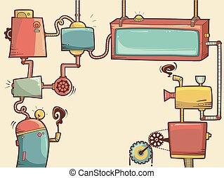 Steampunk Frames - Cartoonish Illustration of Steampunk...