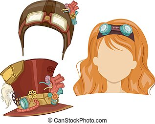 Steampunk Head Wear Fashion - Fashion Illustration of...