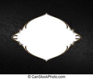 White frame plate on black background