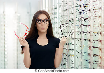 Woman Choosing Eyeglasses Frames - Cute girl deciding for...