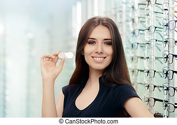 Woman with Contact Lenses Case - Beautiful girl holding...