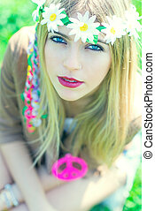 hippie girl with necklace with peace sign - hippie girl with...