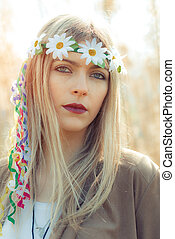 hippie girl with necklace with wreath - hippie girl with...