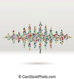 Sound waveform made of scattered balls - Sound waveform made...