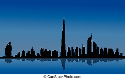 Silhouette of Dubai and reflections on the sea