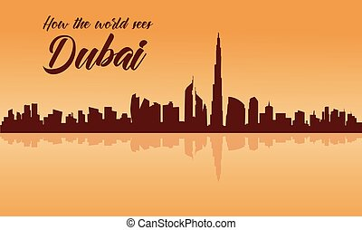 Dubai city skyline silhouette with brown backgrounds