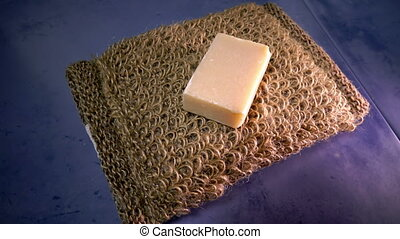 Bast from nettle fiber and a piece of soap ,