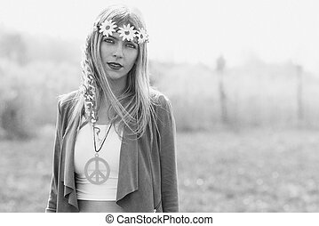 Hyppie girl - Hippy girl - 1970 style. Old black and white...