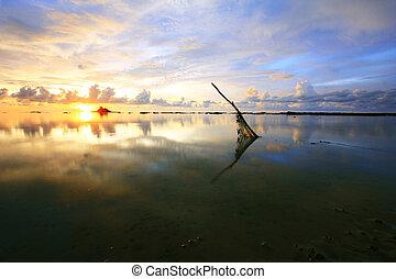 beautiful sunset sky reflection