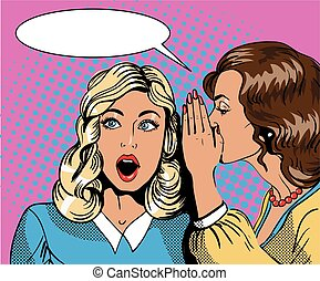 Pop art retro comic vector illustration. Woman whispering...