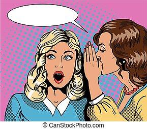 Pop art retro comic vector illustration. Woman whispering...